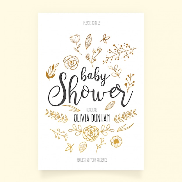Baby Shower Invitation Template With Hand Drawn Ornaments Vector