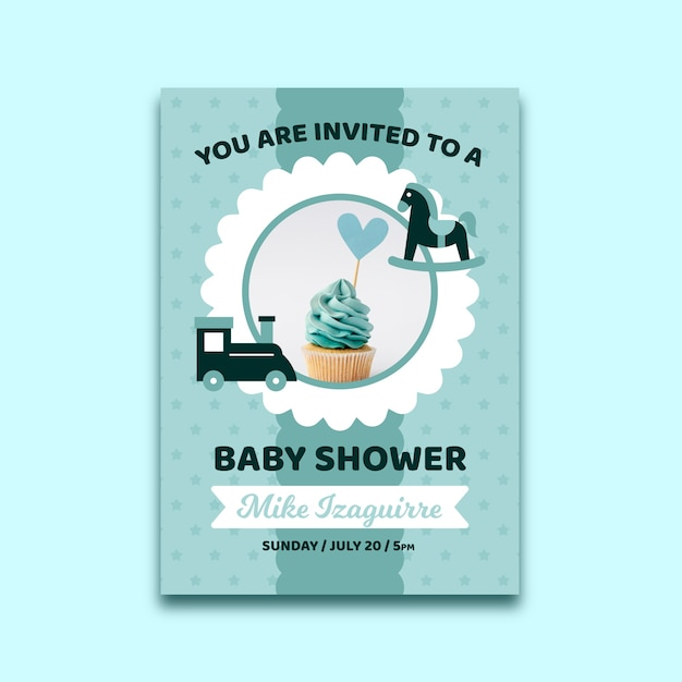 Baby shower invitation template with photo for boy Free Vector