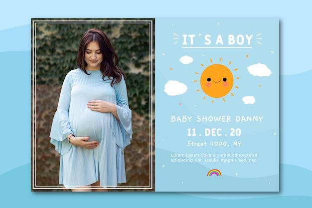 Шаблон приглашения baby shower с фото (мальчик) Бесплатные векторы