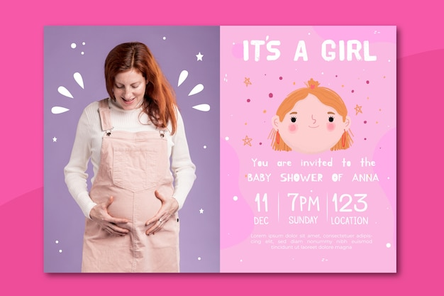 Baby shower invitation template with photo for girl Free Vector