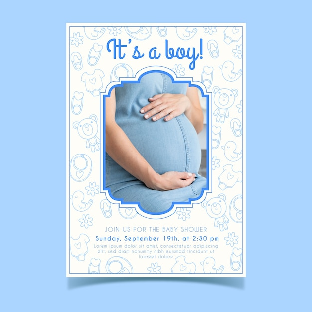 Шаблон приглашения детского душа с фото или беременной женщиной Бесплатные векторы