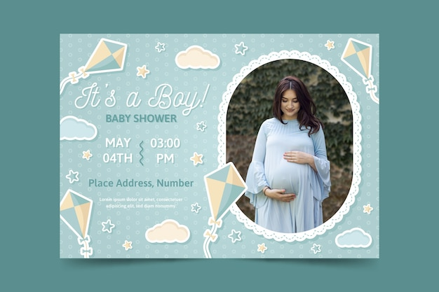 Baby shower invitation template with photo of pregnant mom Premium Vector