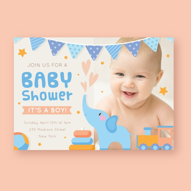 Baby shower invitation template with photo Premium Vector