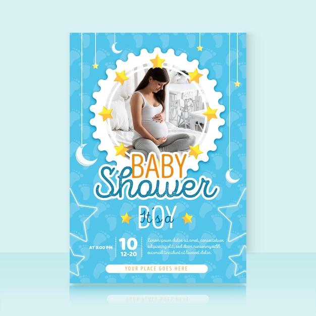 Шаблон приглашения baby shower с фото Бесплатные векторы