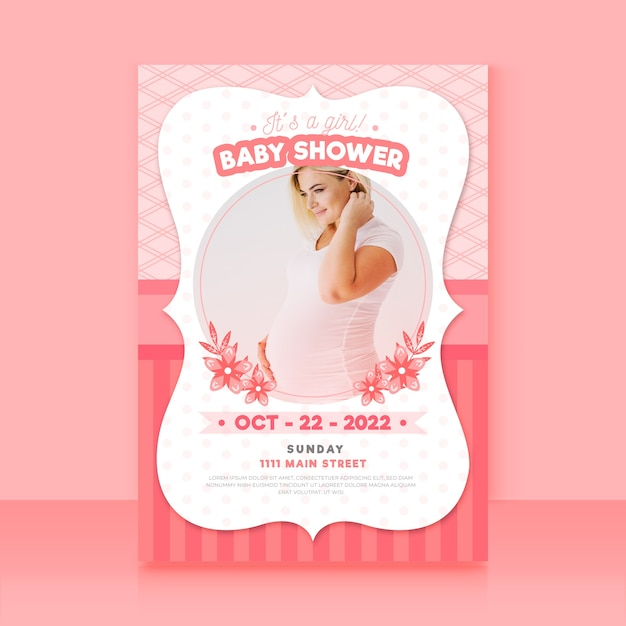 Baby shower invitation template with photo Free Vector