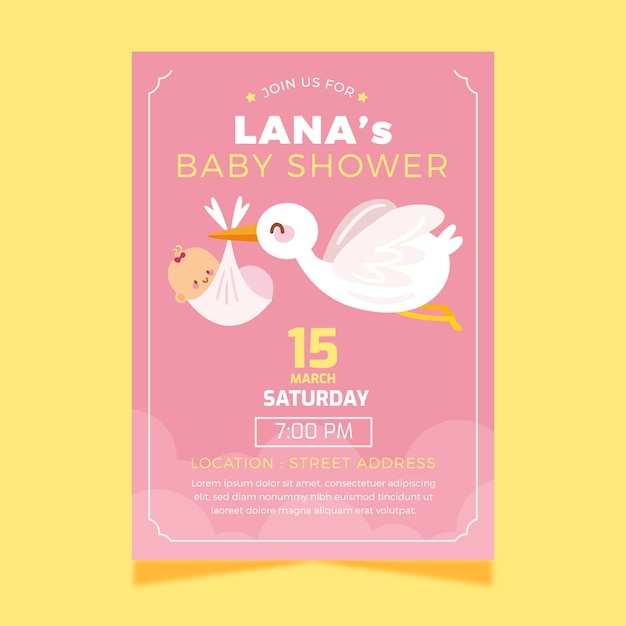 Baby shower invitation template with stork Free Vector