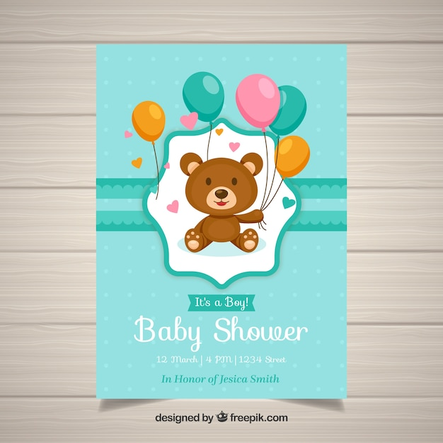 Baby Shower Invitation Template With Teddy Vector Free Download - Print at home baby shower invitation templates