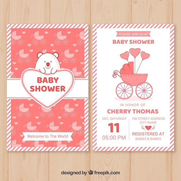 Baby shower invitation template vector free download baby shower invitation template free vector maxwellsz