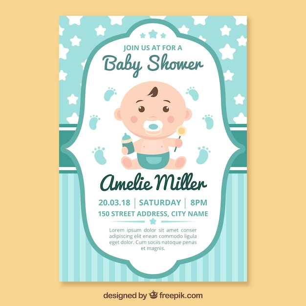 Baby Shower Invitation Template Vector  Free Download