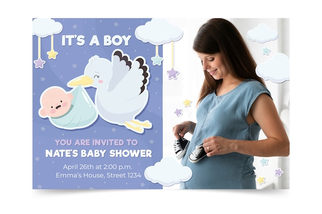 ベビーシャワーの招待状のテンプレート 無料ベクター