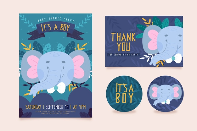 Baby shower invitation template Free Vector
