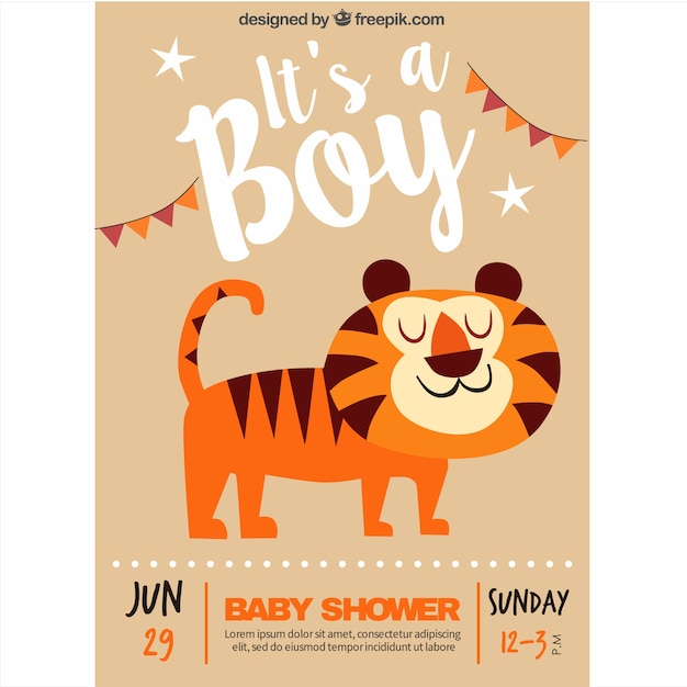 Baby shower invitation with a smiling\ tiger