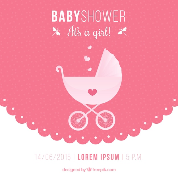 Baby shower invitation with a baby buggy Free Vector