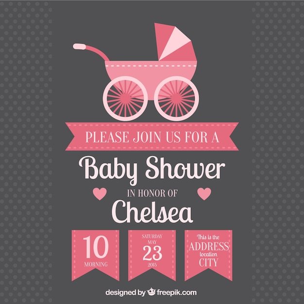 baby shower invitation with baby buggy free vector