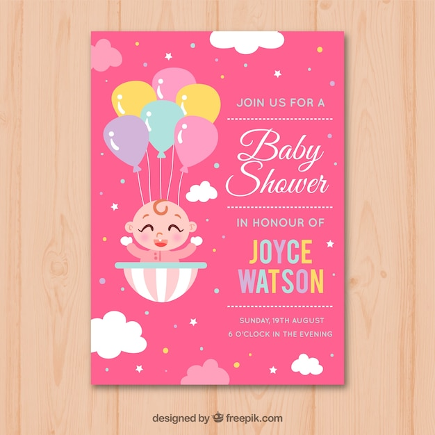 Baby shower invitation with baby girl in hand drawn style Free Vector