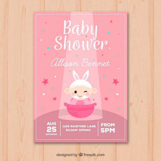 Baby shower invitation with baby girl in hand\ drawn style