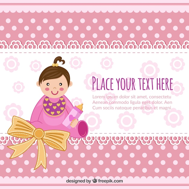 Baby Shower Invitation With Baby Girl Vector Free Download