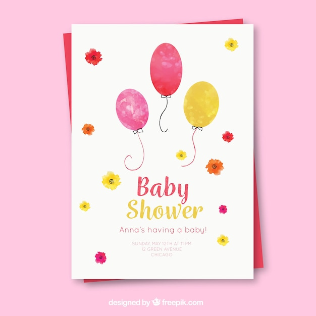 Baby shower invitation with balloons in\ watercolor style