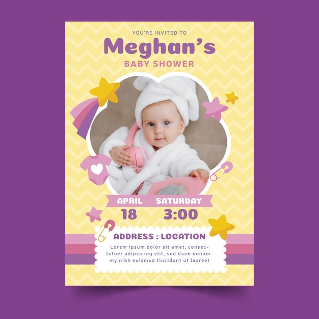 Baby shower invitation with child Free Vector