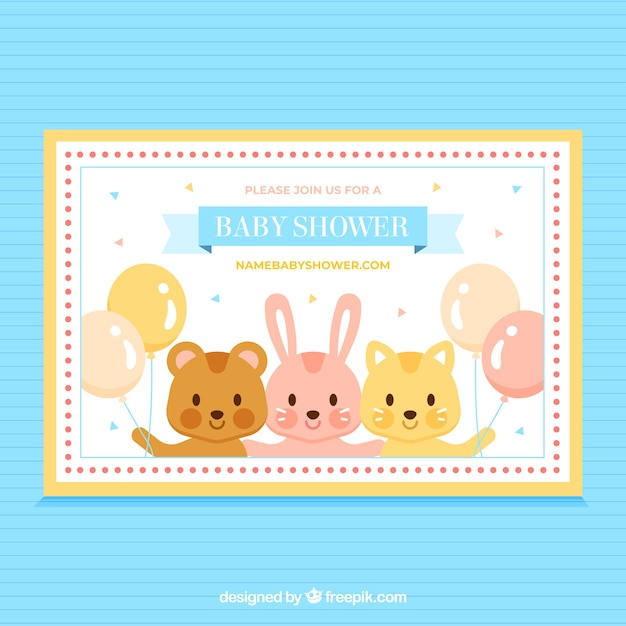 Baby shower invitation with cute animals in\ flat style