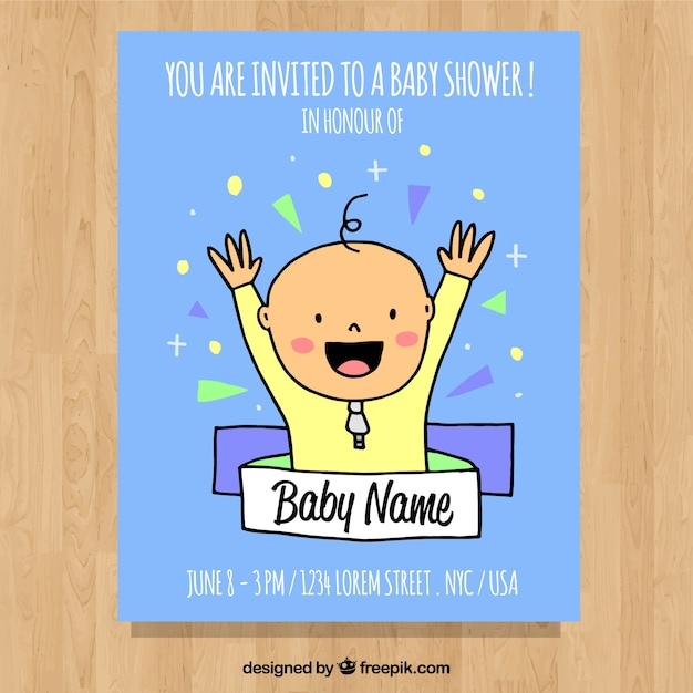 Baby shower invitation with cute boy Vector | Free Download