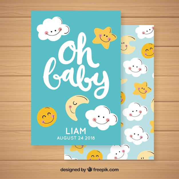 Baby shower invitation with cute clouds and stars Free Vector