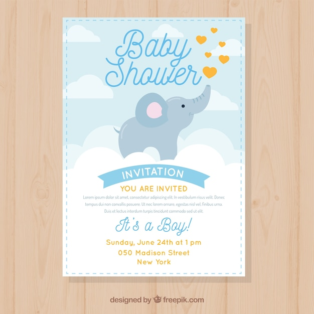 Baby shower invitation with cute elephant vector free download baby shower invitation with cute elephant free vector filmwisefo