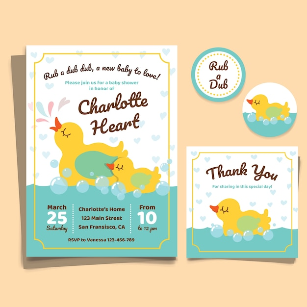 Baby shower invitation with cute little\ ducks