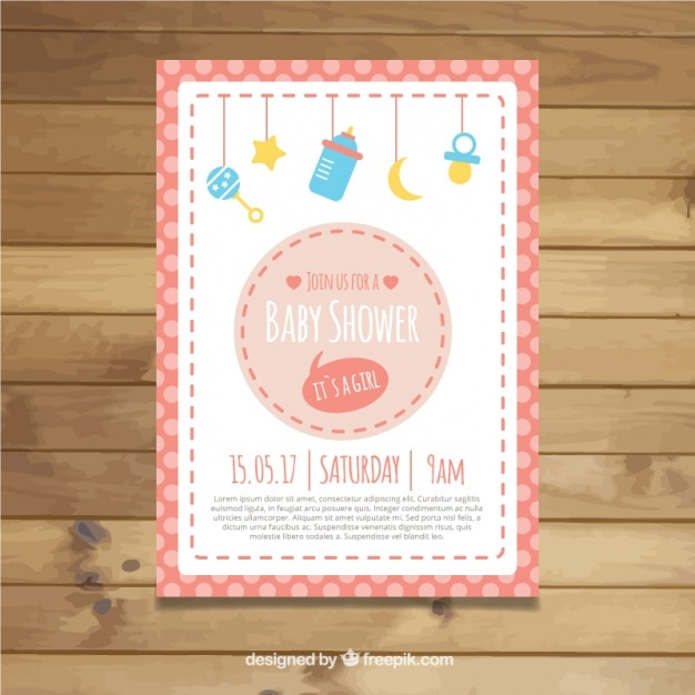 Baby shower invitation with elements hanging\ and frame in pink tones