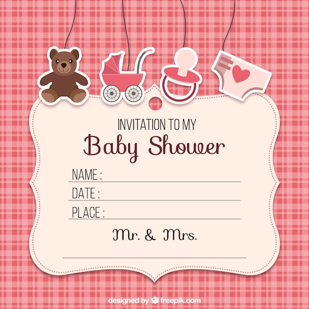Baby shower invitation with elements Free Vector