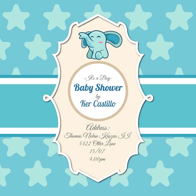 Baby Shower Invitation With Elephant Free Vector