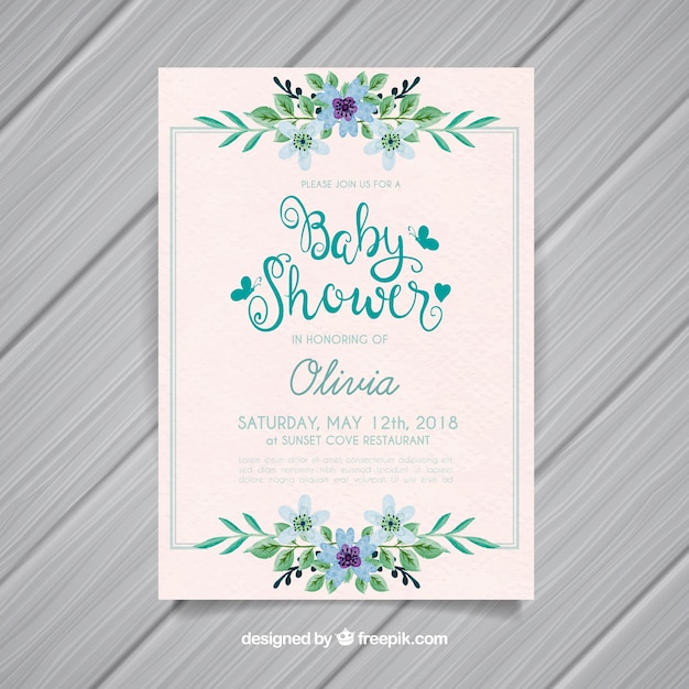 Baby shower invitation with flowers in watercolor style Free Vector