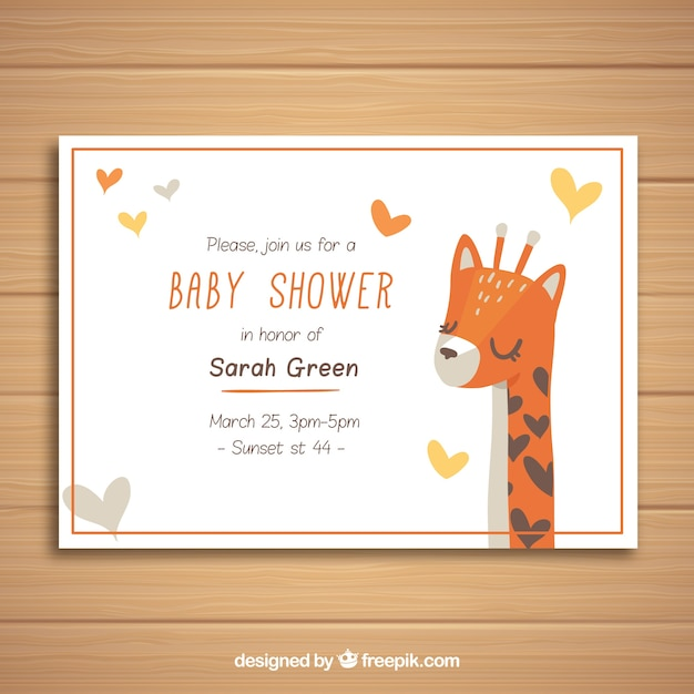 Baby shower invitation with giraffe in flat\ style