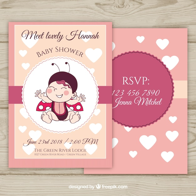 Baby shower invitation with ladybug in hand drawn style vector baby shower invitation with ladybug in hand drawn style free vector stopboris Image collections