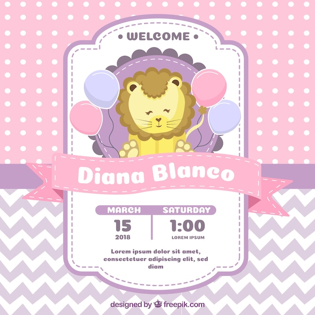 Baby shower invitation with lion in flat style Free Vector