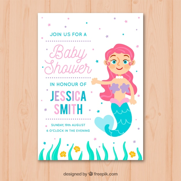 Baby shower invitation with mermaid in hand drawn style Free Vector