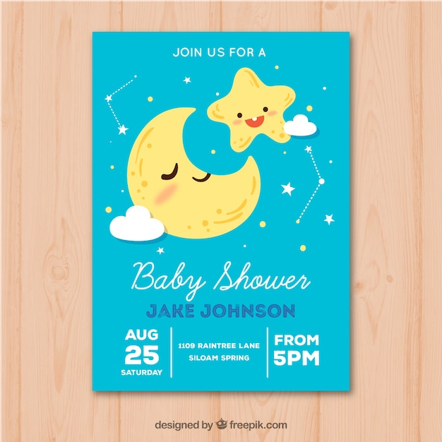 Baby Shower Invitation With Moon And Stars In Hand Drawn Style