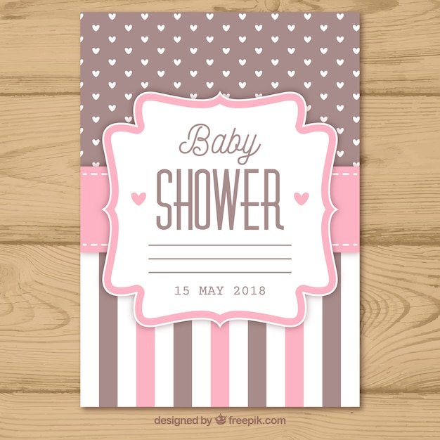 Baby Shower Invitation With Pattern In Flat Style Vector