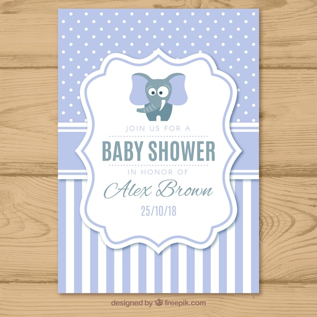 Baby shower invitation with pattern in flat style Free Vector