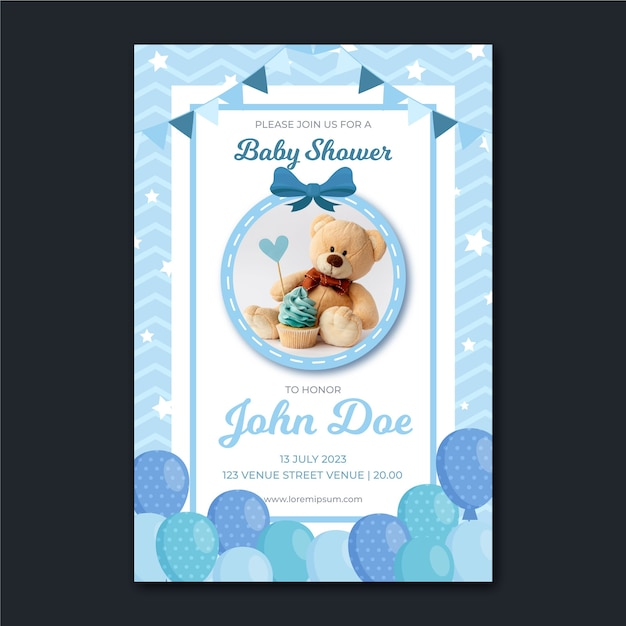 Baby shower invitation with photo Premium Vector
