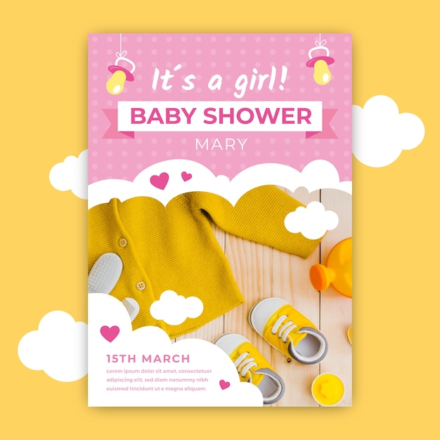 Baby shower invitation with picture of cute baby clothes Free Vector