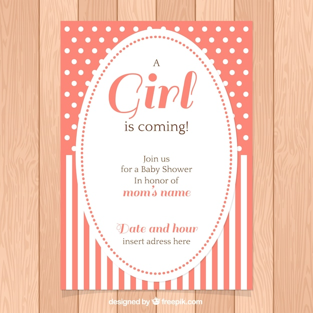 baby shower invitation with polka dots and stripes vector free
