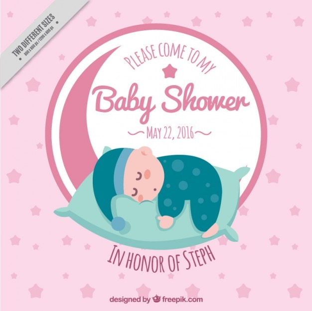 Baby shower invitation with a sleeping baby Free Vector