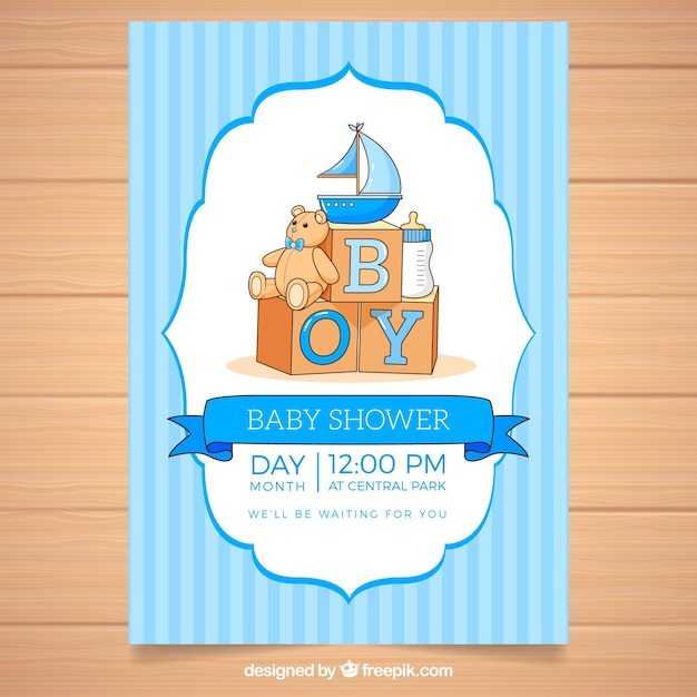 Baby shower invitation with toys