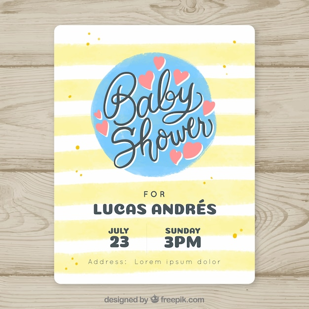 Baby shower invitation with yellow lines Free Vector