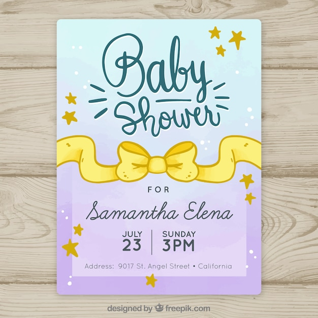 Baby shower invitation with yellow ribbon Free Vector