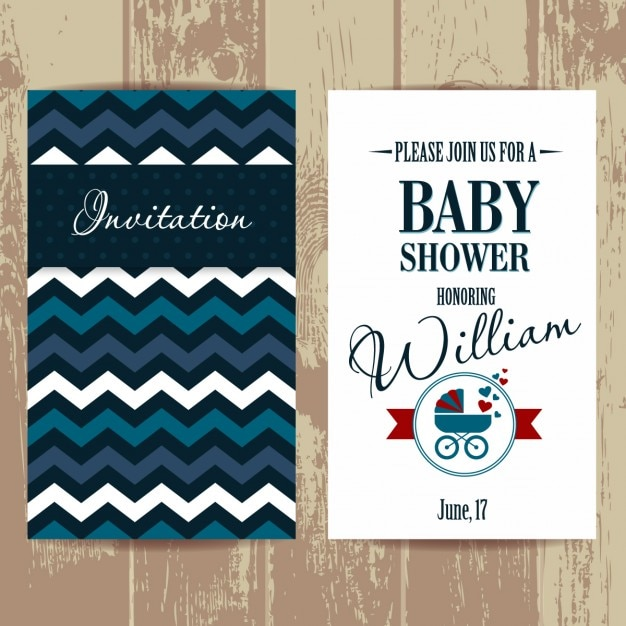 Baby shower invitation with zig-zag\ lines