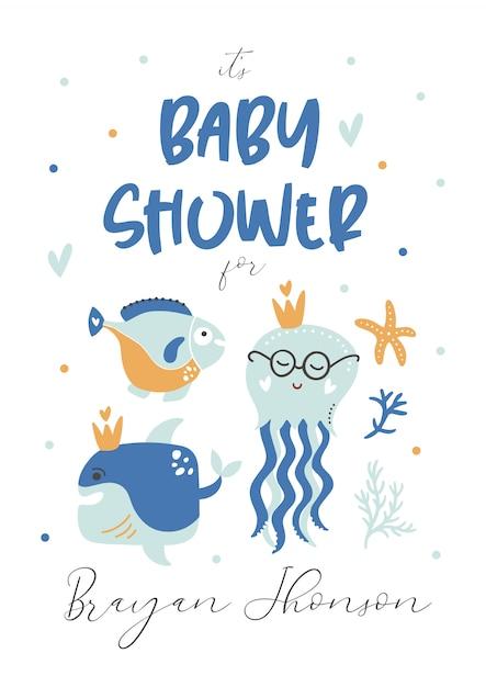 ベビーシャワーの子供たちを招待します。テンプレートカード。 Premiumベクター