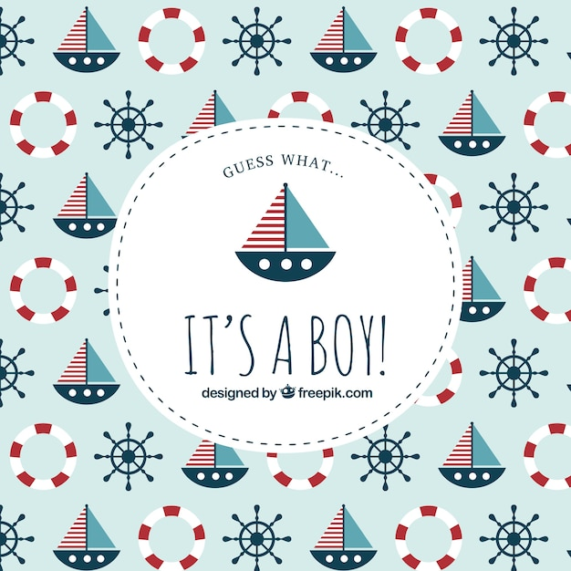 baby shower label on nautical pattern free vector