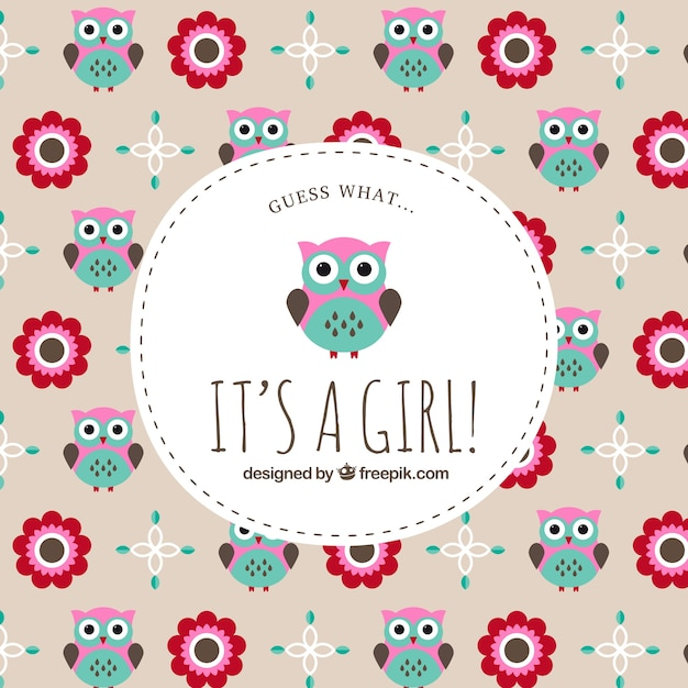 Baby shower label on owl pattern Premium Vector